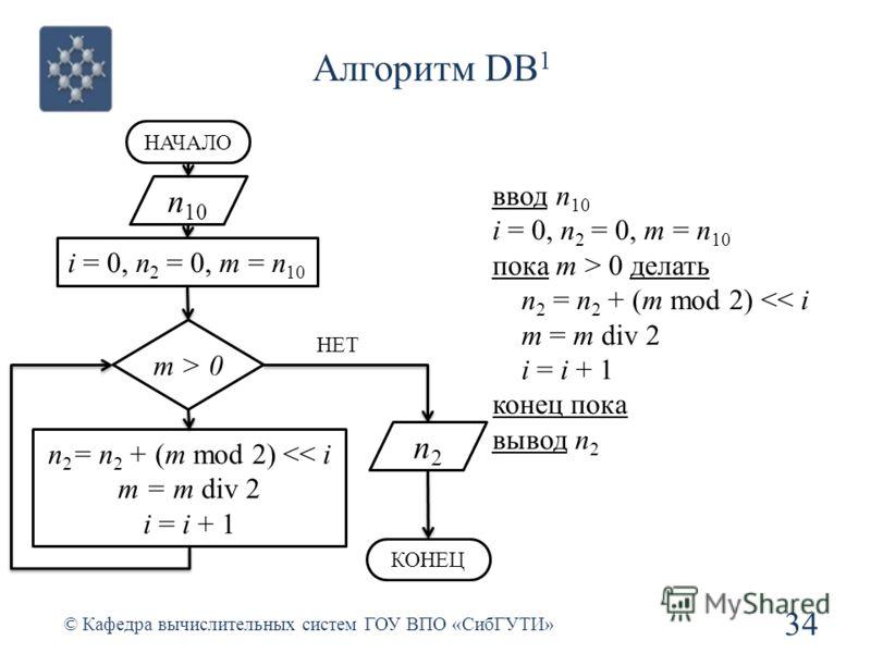 Алгоритм DB 1 34 © Кафедра вычислительных систем ГОУ ВПО «СибГУТИ» n 10 i = 0, n 2 = 0, m = n 10 НАЧАЛО m > 0 n 2 = n 2 + (m mod 2)  0 делать n 2 = n 2 + (m mod 2)