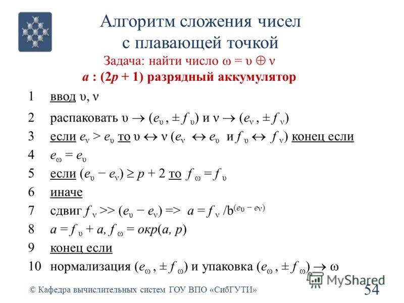 Алгоритм сложения чисел с плавающей точкой 54 © Кафедра вычислительных систем ГОУ ВПО «СибГУТИ» Задача: найти число ω = υ ν а : (2p + 1) разрядный аккумулятор 1ввод υ, ν 2 распаковать υ (e υ, ± f υ ) и ν (e ν, ± f ν ) 3 если e ν > e υ то υ ν (e ν e υ
