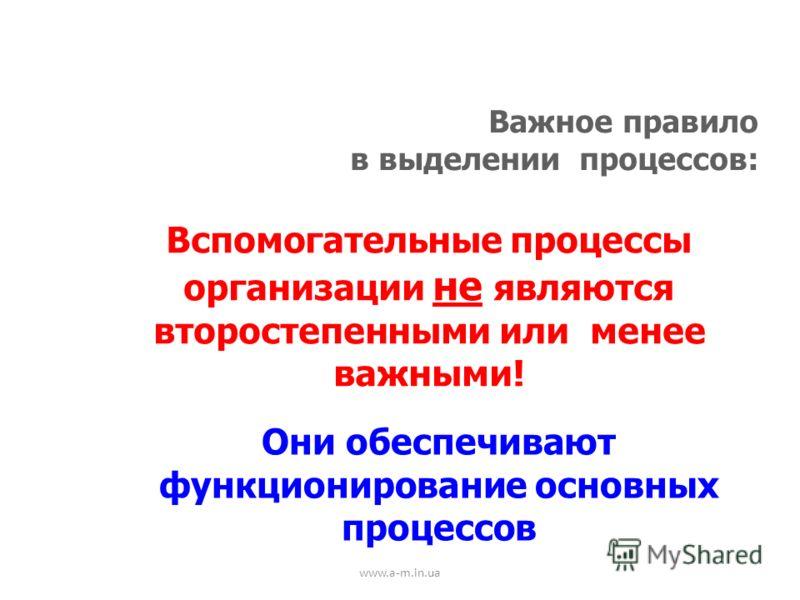www.a-m.in.ua Важное правило в выделении процессов: Вспомогательные процессы организации не являются второстепенными или менее важными! Они обеспечивают функционирование основных процессов