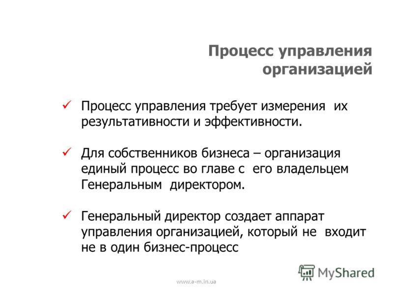 www.a-m.in.ua Процесс управления организацией Процесс управления требует измерения их результативности и эффективности. Для собственников бизнеса – организация единый процесс во главе с его владельцем Генеральным директором. Генеральный директор созд