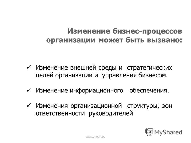 www.a-m.in.ua Изменение бизнес-процессов организации может быть вызвано: Изменение внешней среды и стратегических целей организации и управления бизнесом. Изменение информационного обеспечения. Изменения организационной структуры, зон ответственности