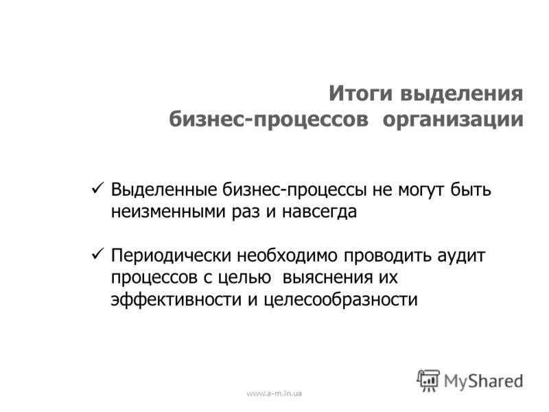 www.a-m.in.ua Итоги выделения бизнес-процессов организации Выделенные бизнес-процессы не могут быть неизменными раз и навсегда Периодически необходимо проводить аудит процессов с целью выяснения их эффективности и целесообразности