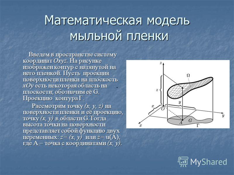 Математическая модель мыльной пленки Введем в пространстве систему координат Оxyz. На рисунке изображен контур с натянутой на него пленкой. Пусть проекция поверхности пленки на плоскость xОy есть некоторая область на плоскости; обозначим её G. Проекц