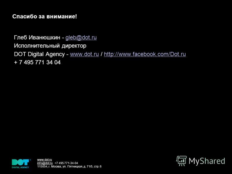 www.dot.ru info@dot.ru +7 495 771-34-04 115054, г. Москва, ул. Пятницкая, д. 71/5, стр. 6 Cпасибо за внимание! Глеб Иванюшкин - gleb@dot.rugleb@dot.ru Исполнительный директор DOT Digital Agency - www.dot.ru / http://www.facebook.com/Dot.ruwww.dot.ruh