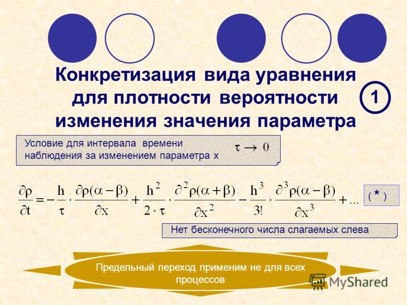 Конкретизация вида уравнения для плотности вероятности изменения значения параметра Условие для интервала времени наблюдения за изменением параметра х Предельный переход применим не для всех процессов 1 Нет бесконечного числа слагаемых слева ( * )