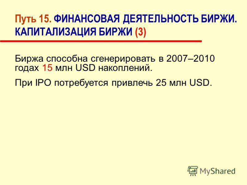Путь 15. ФИНАНСОВАЯ ДЕЯТЕЛЬНОСТЬ БИРЖИ. КАПИТАЛИЗАЦИЯ БИРЖИ (3) Биржа способна сгенерировать в 2007–2010 годах 15 млн USD накоплений. При IPO потребуется привлечь 25 млн USD.
