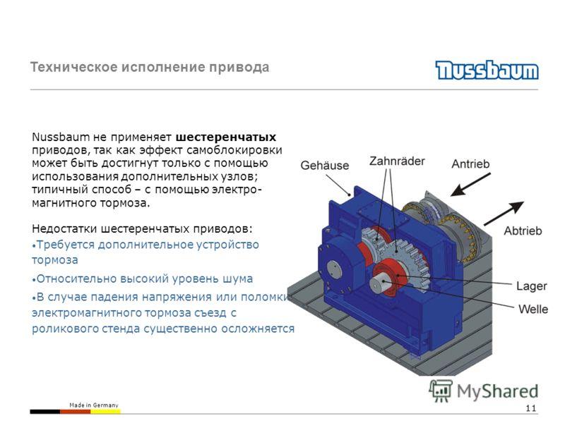 Made in Germany 11 Техническое исполнение привода Nussbaum не применяет шестеренчатых приводов, так как эффект самоблокировки может быть достигнут только с помощью использования дополнительных узлов; типичный способ – с помощью электро- магнитного то