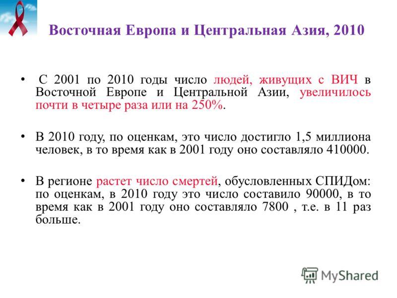 Восточная Европа и Центральная Азия, 2010 С 2001 по 2010 годы число людей, живущих с ВИЧ в Восточной Европе и Центральной Азии, увеличилось почти в четыре раза или на 250%. В 2010 году, по оценкам, это число достигло 1,5 миллиона человек, в то время