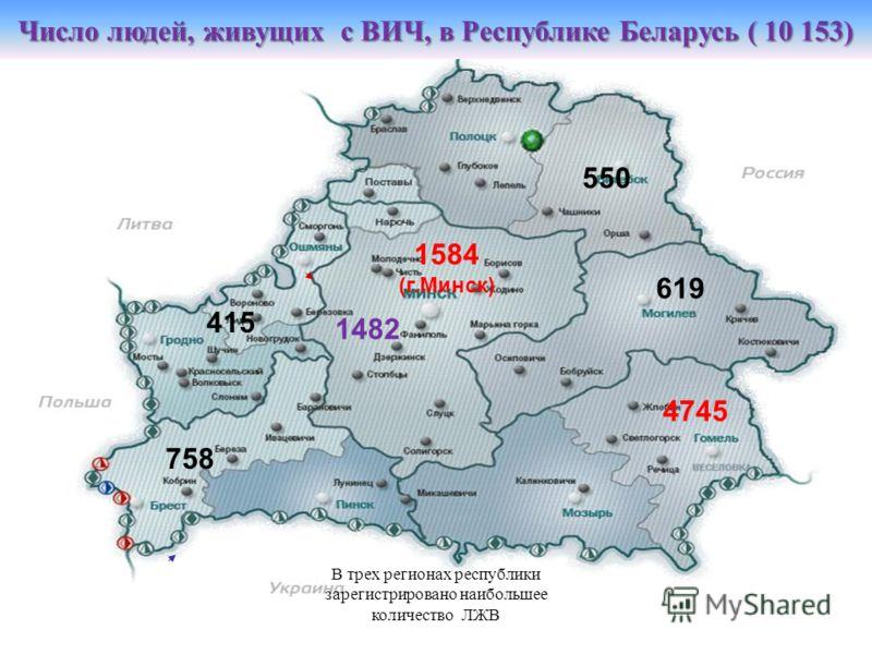 Число людей, живущих с ВИЧ, в Республике Беларусь ( 10 153) 550 619 4745 758 1584 (г.Минск) 1482 415 В трех регионах республики зарегистрировано наибольшее количество ЛЖВ