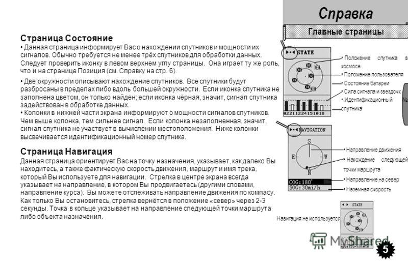Страница Состояние Данная страница информирует Вас о нахождении спутников и мощности их сигналов. Обычно требуется не менее трёх спутников для обработки данных. Следует проверить иконку в левом верхнем углу страницы. Она играет ту же роль, что и на с