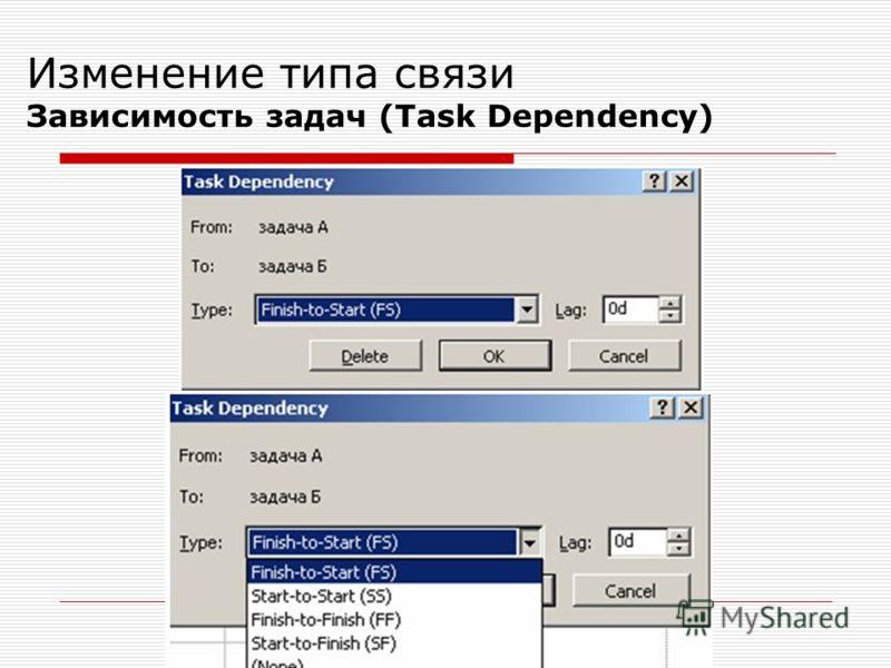 Изменение типа связи Зависимость задач (Task Dependency)