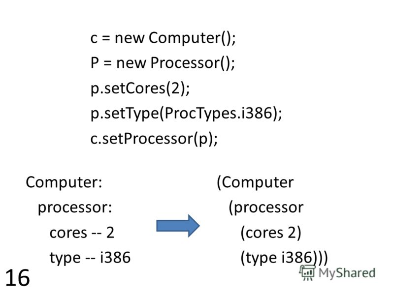 Computer: processor: cores -- 2 type -- i386 (Computer (processor (cores 2) (type i386))) c = new Computer(); P = new Processor(); p.setCores(2); p.setType(ProcTypes.i386); c.setProcessor(p); 16