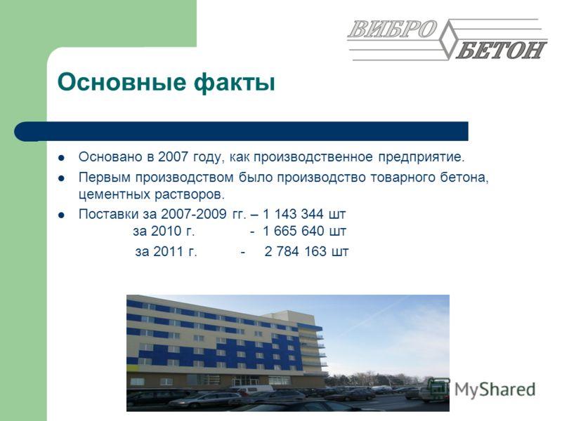 Основные факты Основано в 2007 году, как производственное предприятие. Первым производством было производство товарного бетона, цементных растворов. Поставки за 2007-2009 гг. – 1 143 344 шт за 2010 г. - 1 665 640 шт за 2011 г. - 2 784 163 шт