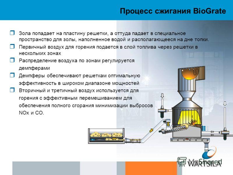 Процесс сжигания BioGrate Зола попадает на пластину решетки, а оттуда падает в специальное пространство для золы, наполненное водой и располагающееся на дне топки. Первичный воздух для горения подается в слой топлива через решетки в нескольких зонах