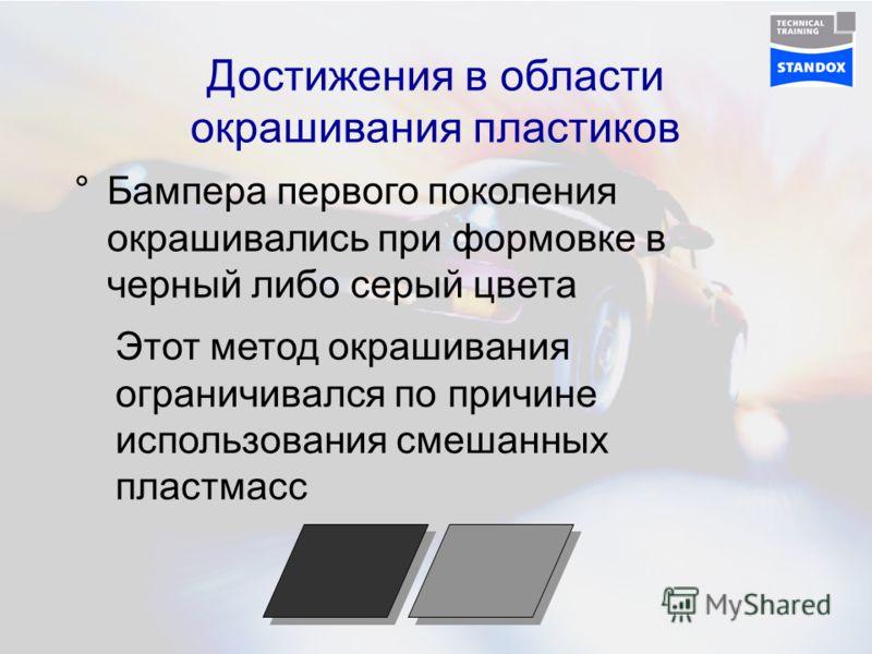 Достижения в области окрашивания пластиков °Бампера первого поколения окрашивались при формовке в черный либо серый цвета Этот метод окрашивания ограничивался по причине использования смешанных пластмасс