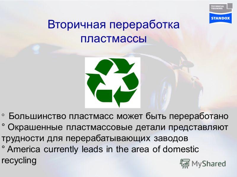 Вторичная переработка пластмассы ° Большинство пластмасс может быть переработано ° Окрашенные пластмассовые детали представляют трудности для перерабатывающих заводов ° America currently leads in the area of domestic recycling
