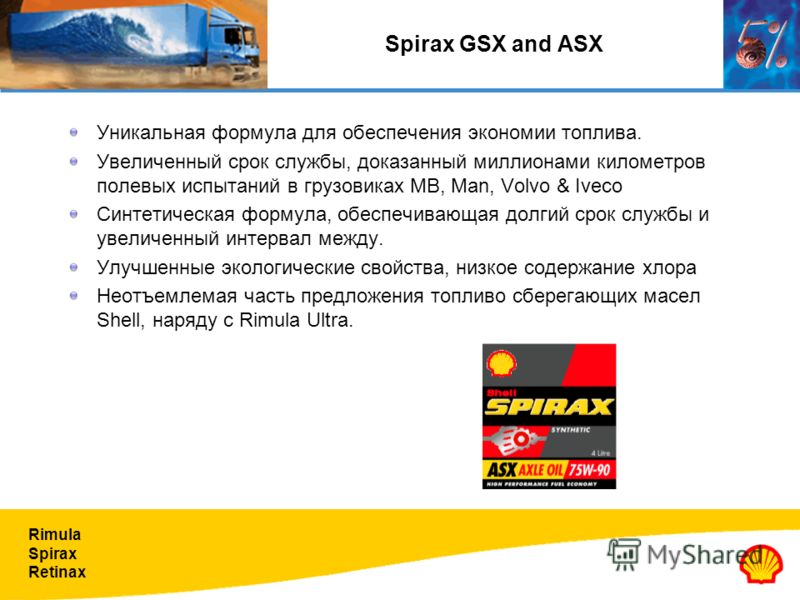Rimula Spirax Retinax Spirax GSX and ASX Уникальная формула для обеспечения экономии топлива. Увеличенный срок службы, доказанный миллионами километров полевых испытаний в грузовиках MB, Man, Volvo & Iveco Синтетическая формула, обеспечивающая долгий