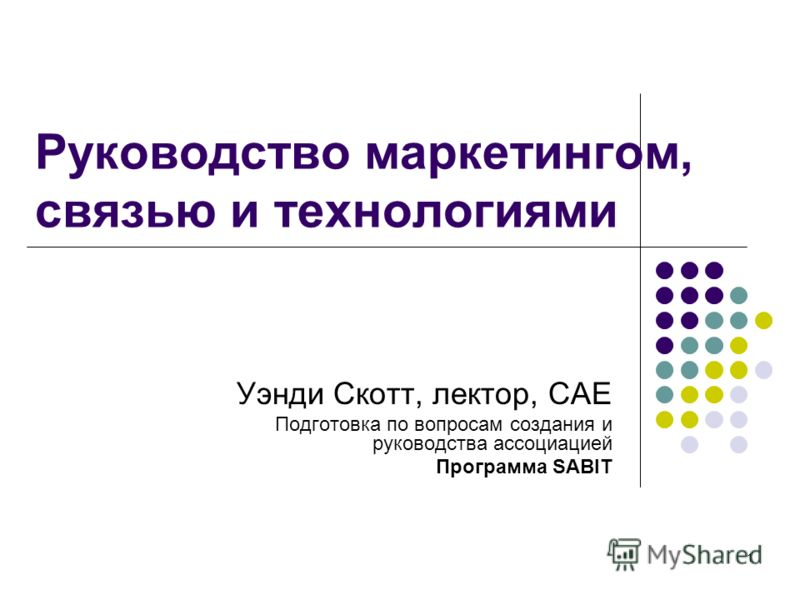 1 Руководство маркетингом, связью и технологиями Уэнди Скотт, лектор, CAE Подготовка по вопросам создания и руководства ассоциацией Программа SABIT