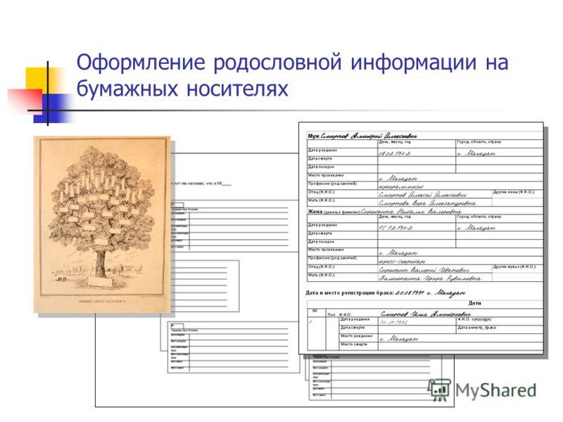 Оформление родословной информации на бумажных носителях