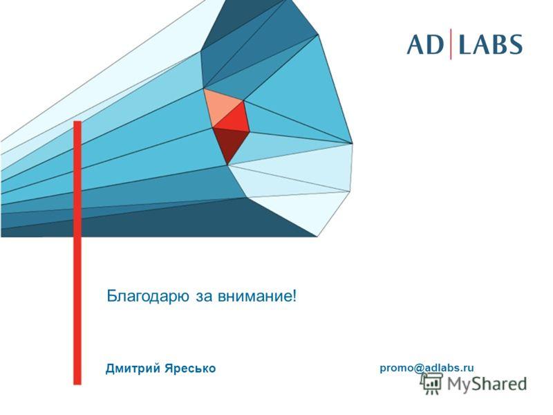 Дмитрий Яресько promo@adlabs.ru Благодарю за внимание!