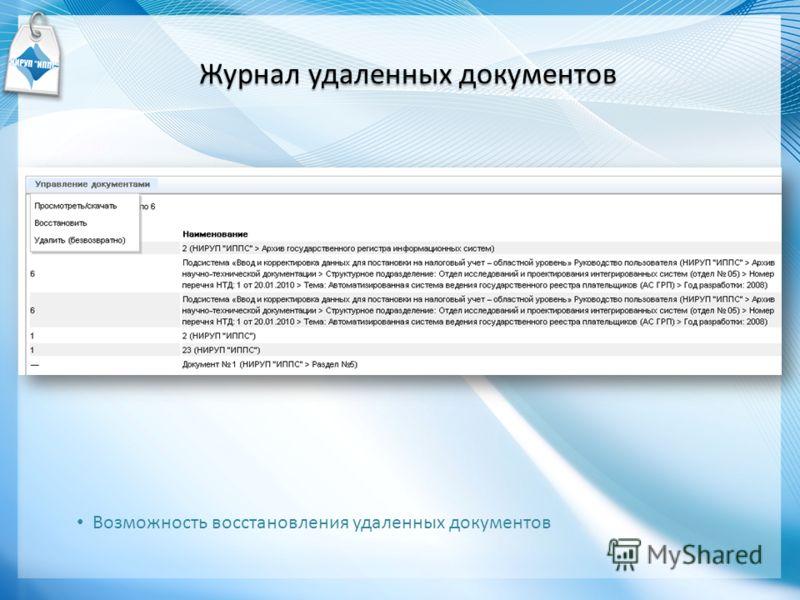 Журнал удаленных документов Возможность восстановления удаленных документов