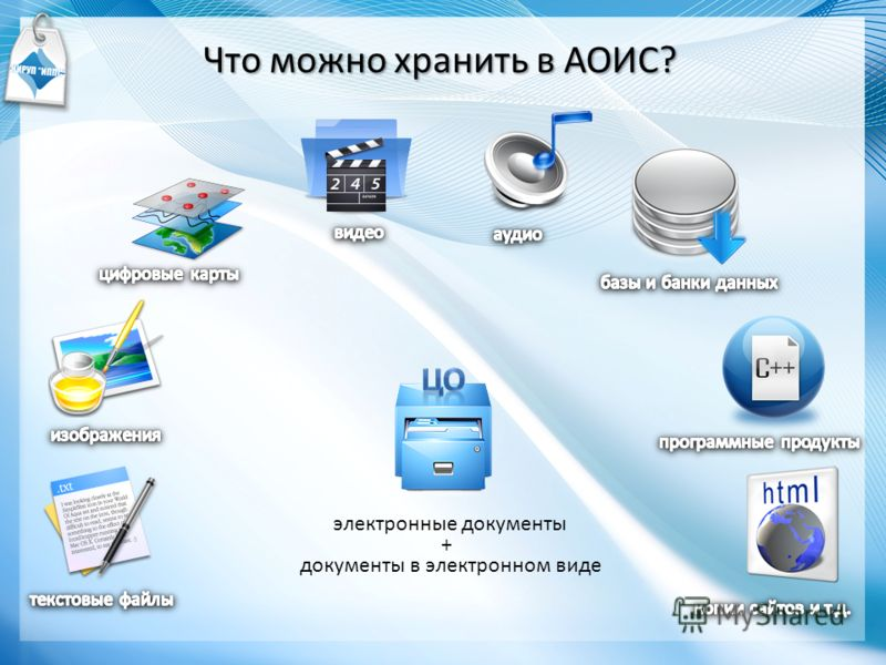 Что можно хранить в АОИС? электронные документы документы в электронном виде +