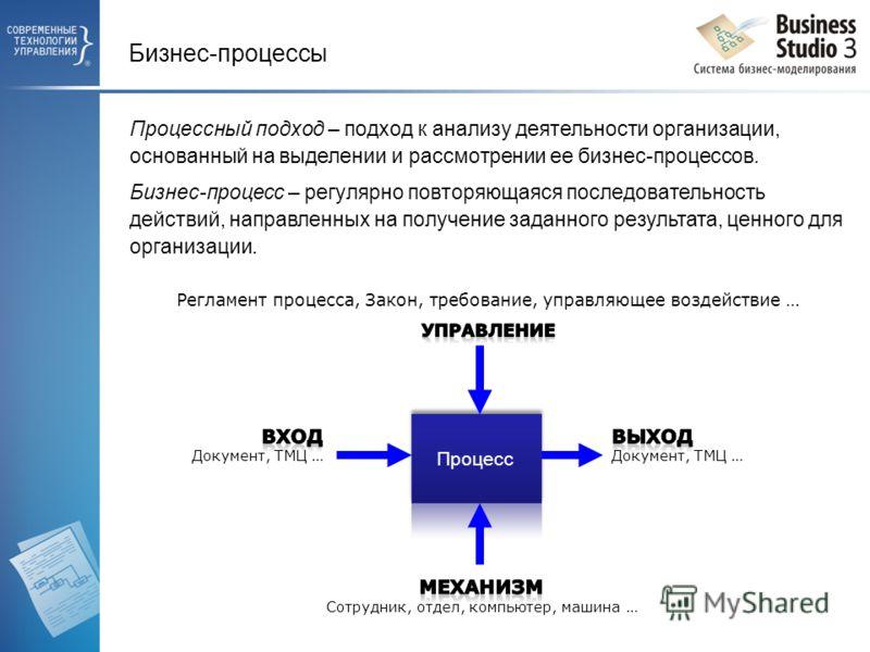 Процессный подход – подход к анализу деятельности организации, основанный на выделении и рассмотрении ее бизнес-процессов. Бизнес-процесс – регулярно повторяющаяся последовательность действий, направленных на получение заданного результата, ценного д