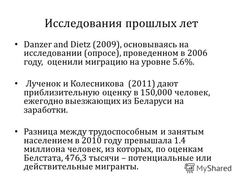 Исследования прошлых лет Danzer and Dietz (2009), основываясь на исследовании (опросе), проведенном в 2006 году, оценили миграцию на уровне 5.6%. Лученок и Колесникова (2011) дают приблизительную оценку в 150,000 человек, ежегодно выезжающих из Белар