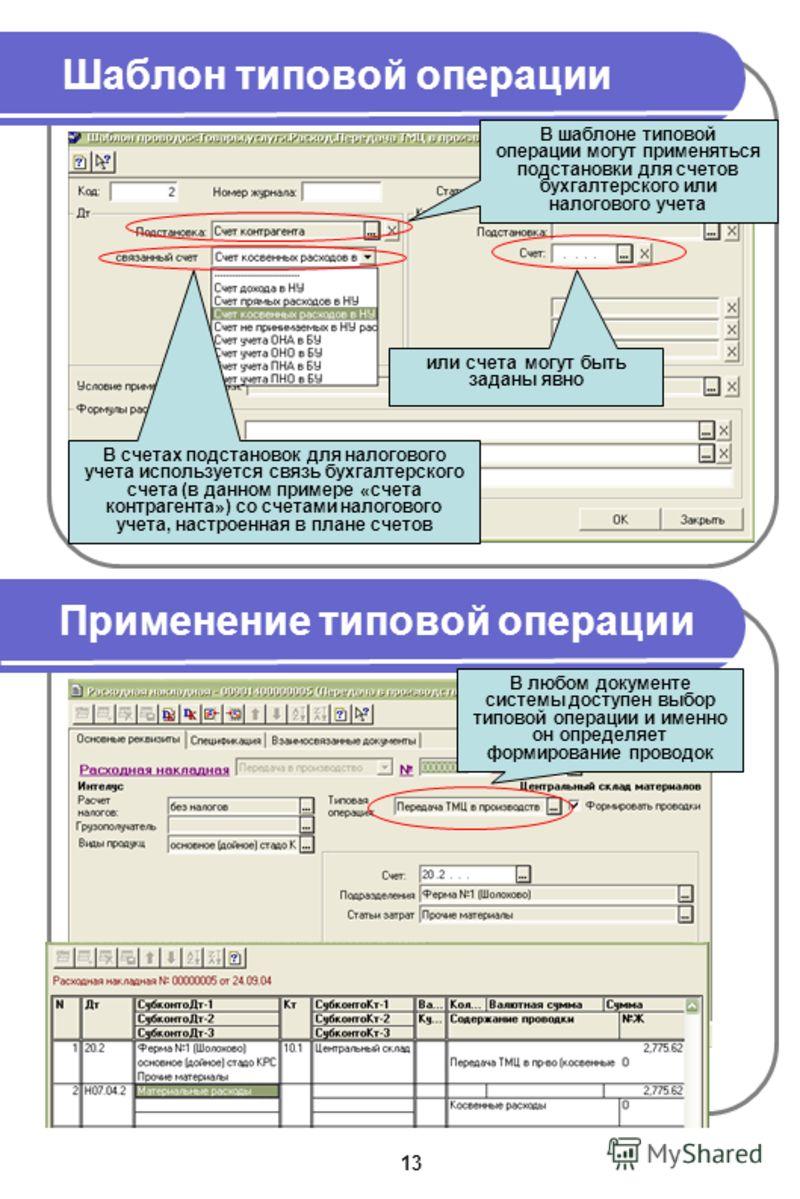 Шаблон типовой операции Применение типовой операции В шаблоне типовой операции могут применяться подстановки для счетов бухгалтерского или налогового учета В счетах подстановок для налогового учета используется связь бухгалтерского счета (в данном пр