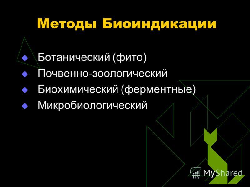 Методы Биоиндикации Ботанический (фито) Почвенно-зоологический Биохимический (ферментные) Микробиологический