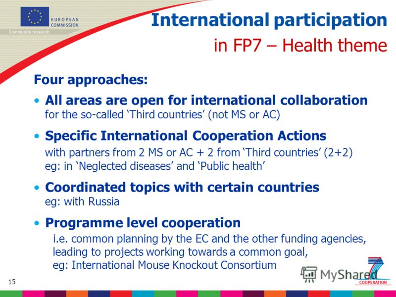 15 Based on proposed draft work programme prior to final consultations International participation in FP7 – Health theme Four approaches: All areas are open for international collaboration for the so-called Third countries (not MS or AC) Specific Int