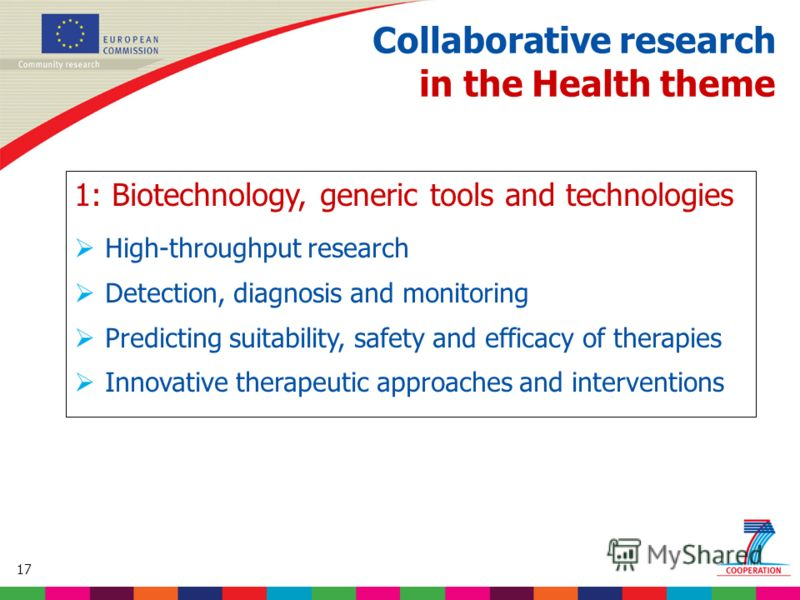 17 Based on proposed draft work programme prior to final consultations Collaborative research in the Health theme 1: Biotechnology, generic tools and technologies High-throughput research Detection, diagnosis and monitoring Predicting suitability, sa