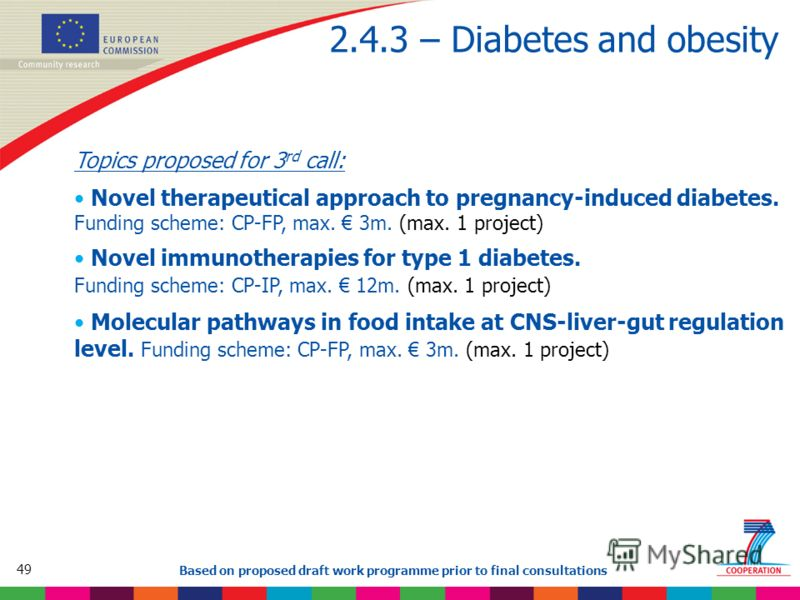 49 Based on proposed draft work programme prior to final consultations 2.4.3 – Diabetes and obesity Topics proposed for 3 rd call: Novel therapeutical approach to pregnancy-induced diabetes. Funding scheme: CP-FP, max. 3m. (max. 1 project) Novel immu