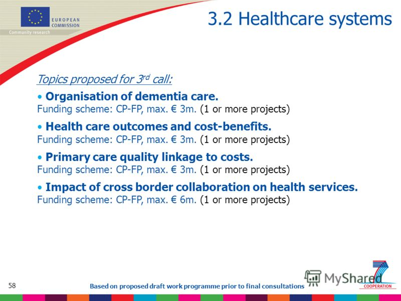58 Based on proposed draft work programme prior to final consultations 3.2 Healthcare systems Topics proposed for 3 rd call: Organisation of dementia care. Funding scheme: CP-FP, max. 3m. (1 or more projects) Health care outcomes and cost-benefits. F