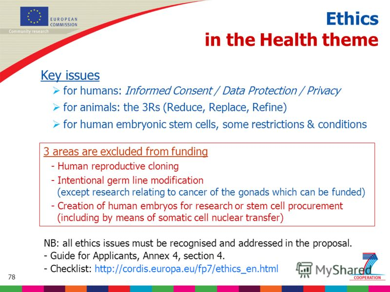 78 Based on proposed draft work programme prior to final consultations Ethics in the Health theme Key issues for humans: Informed Consent / Data Protection / Privacy for animals: the 3Rs (Reduce, Replace, Refine) for human embryonic stem cells, some