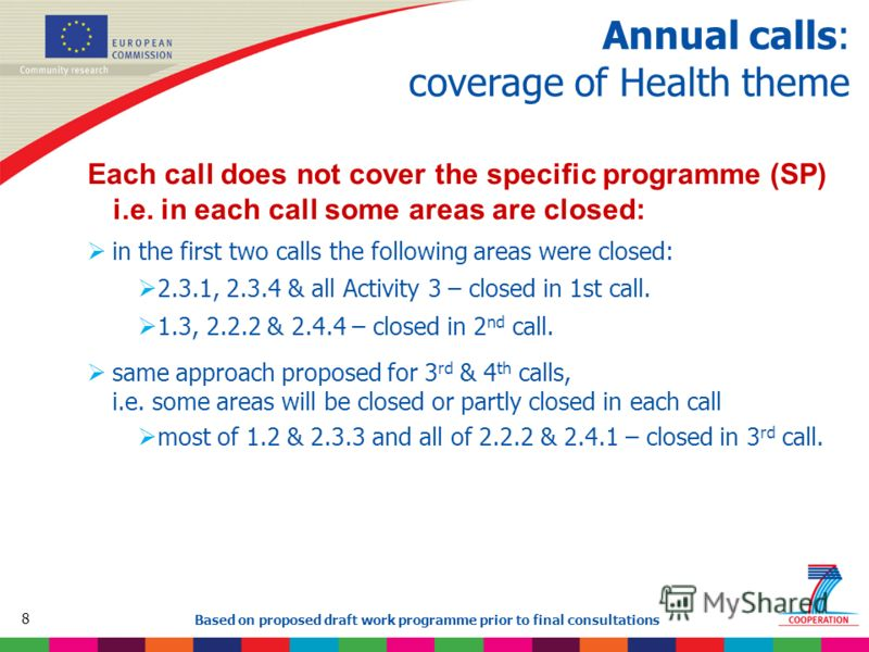 8 Based on proposed draft work programme prior to final consultations Annual calls: coverage of Health theme Each call does not cover the specific programme (SP) i.e. in each call some areas are closed: in the first two calls the following areas were