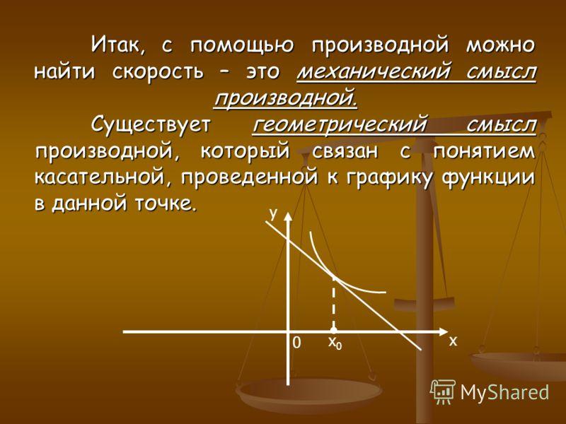 Итак, с помощью производной можно найти скорость – это механический смысл производной. Существует геометрический смысл производной, который связан с понятием касательной, проведенной к графику функции в данной точке. x y 0 x0x0