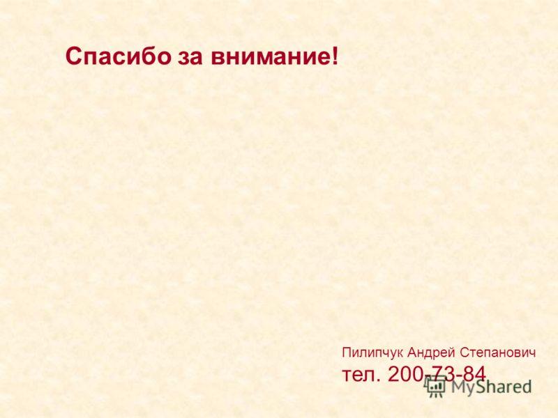 Пилипчук Андрей Степанович тел. 200-73-84 Спасибо за внимание!