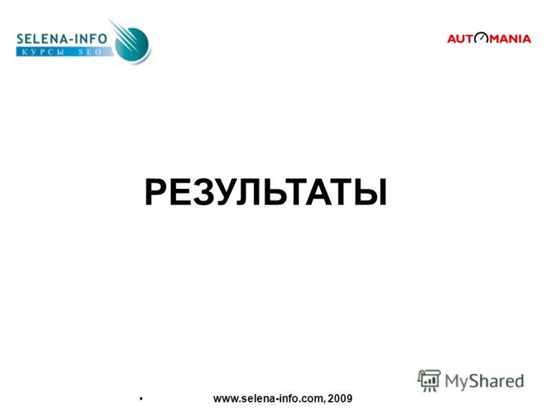 РЕЗУЛЬТАТЫ www.selena-info.com, 2009