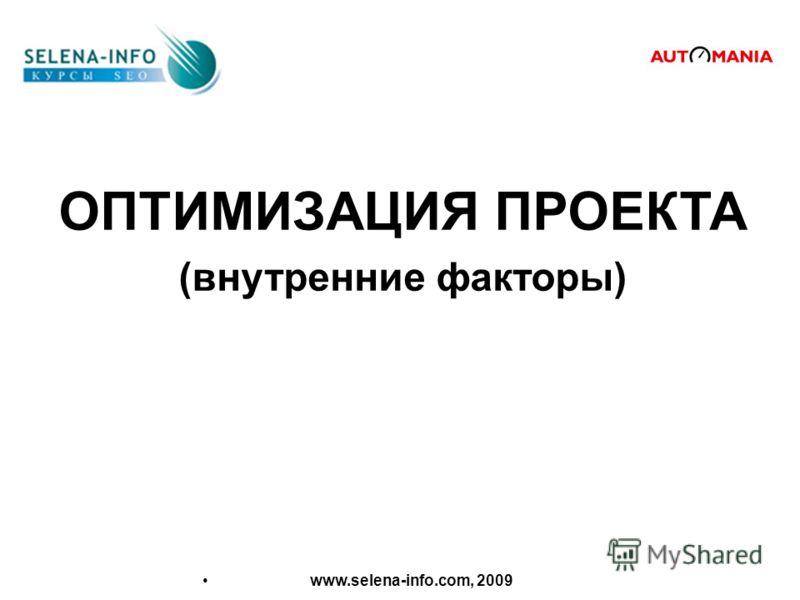 ОПТИМИЗАЦИЯ ПРОЕКТА (внутренние факторы) www.selena-info.com, 2009