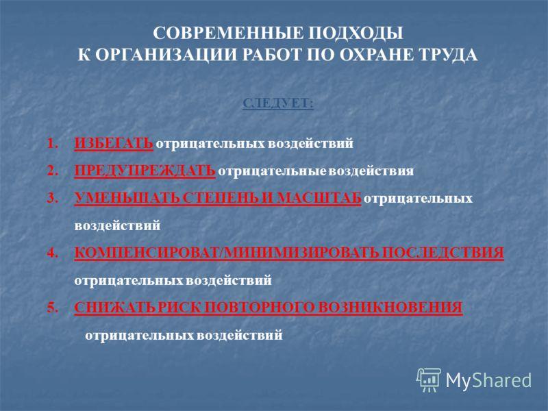 СОВРЕМЕННЫЕ ПОДХОДЫ К ОРГАНИЗАЦИИ РАБОТ ПО ОХРАНЕ ТРУДА СЛЕДУЕТ: 1.ИЗБЕГАТЬ отрицательных воздействий 2.ПРЕДУПРЕЖДАТЬ отрицательные воздействия 3.УМЕНЬШАТЬ СТЕПЕНЬ И МАСШТАБ отрицательных воздействий 4.КОМПЕНСИРОВАТ/МИНИМИЗИРОВАТЬ ПОСЛЕДСТВИЯ отрицат
