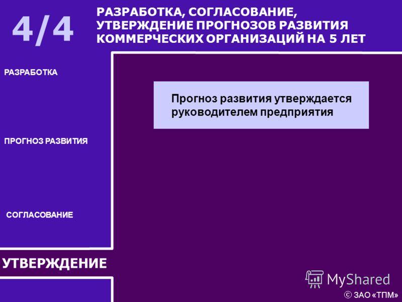 УТВЕРЖДЕНИЕ РАЗРАБОТКА ПРОГНОЗ РАЗВИТИЯ СОГЛАСОВАНИЕ РАЗРАБОТКА, СОГЛАСОВАНИЕ, УТВЕРЖДЕНИЕ ПРОГНОЗОВ РАЗВИТИЯ КОММЕРЧЕСКИХ ОРГАНИЗАЦИЙ НА 5 ЛЕТ 4/4 Прогноз развития утверждается руководителем предприятия ЗАО «ТПМ»