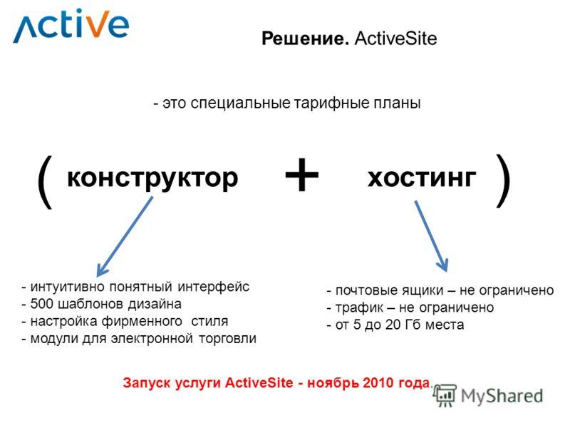- это специальные тарифные планы Решение. ActiveSite конструкторхостинг + ( ) - интуитивно понятный интерфейс - 500 шаблонов дизайна - настройка фирменного стиля - модули для электронной торговли - почтовые ящики – не ограничено - трафик – не огранич