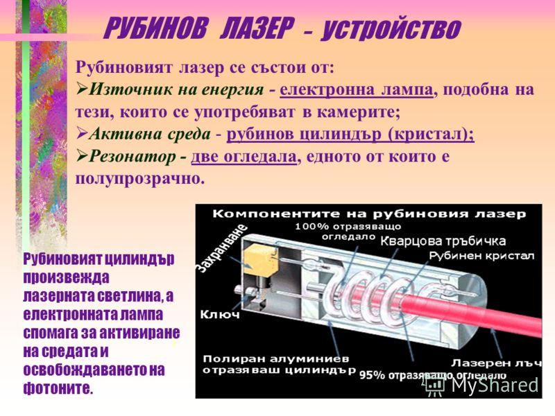Първоначално е открит лазерът, който излъчва сноп от радиовълни и по-късно по аналогия се поражда идеята за laser (от английски light, светлина). Първият лазер, създаден през 1960г., е рубиновият с активна среда от рубинов кристал с цилиндрична форма