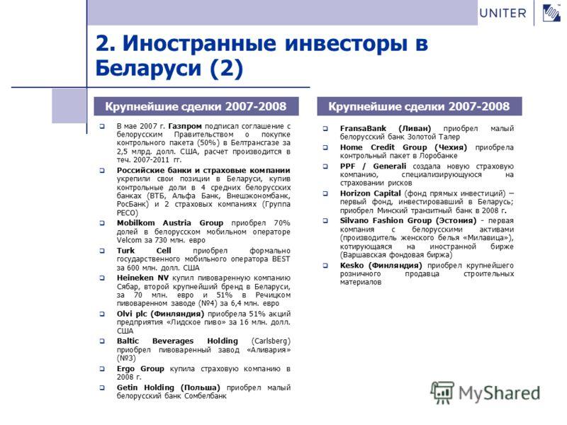 В мае 2007 г. Газпром подписал соглашение с белорусским Правительством о покупке контрольного пакета (50%) в Белтрансгазе за 2,5 млрд. долл. США, расчет производится в теч. 2007-2011 гг. Российские банки и страховые компании укрепили свои позиции в Б