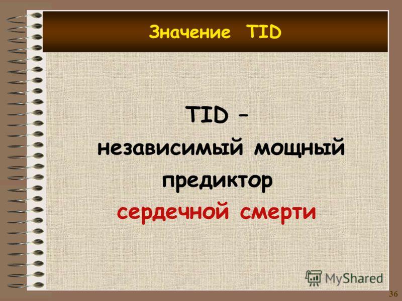 Значение TID TID – независимый мощный предиктор сердечной смерти 3636