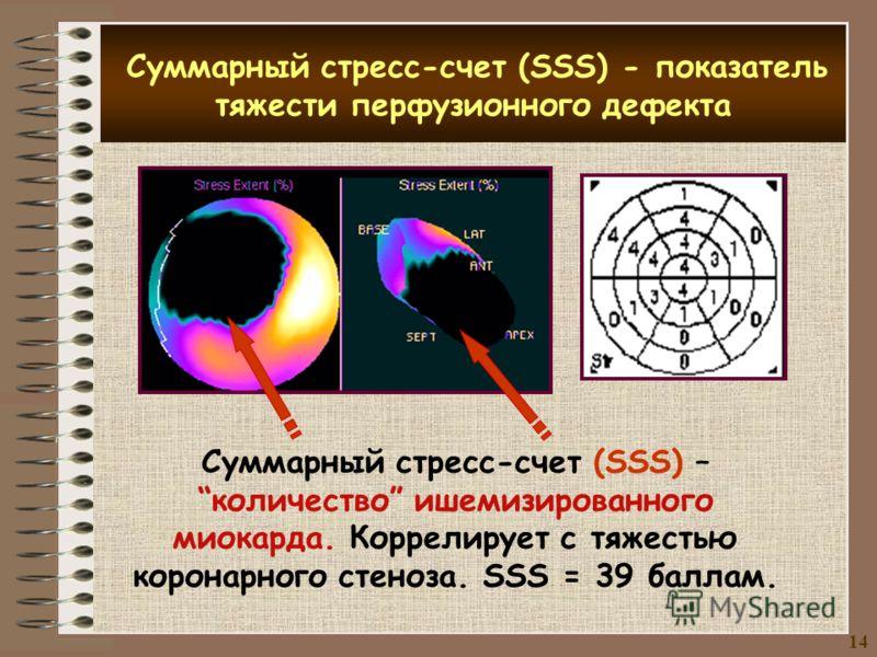 ё Суммарный стресс-счет (SSS) - показатель тяжести перфузионного дефекта Суммарный стресс-счет (SSS) –количество ишемизированного миокарда. Коррелирует с тяжестью коронарного стеноза. SSS = 39 баллам. 14