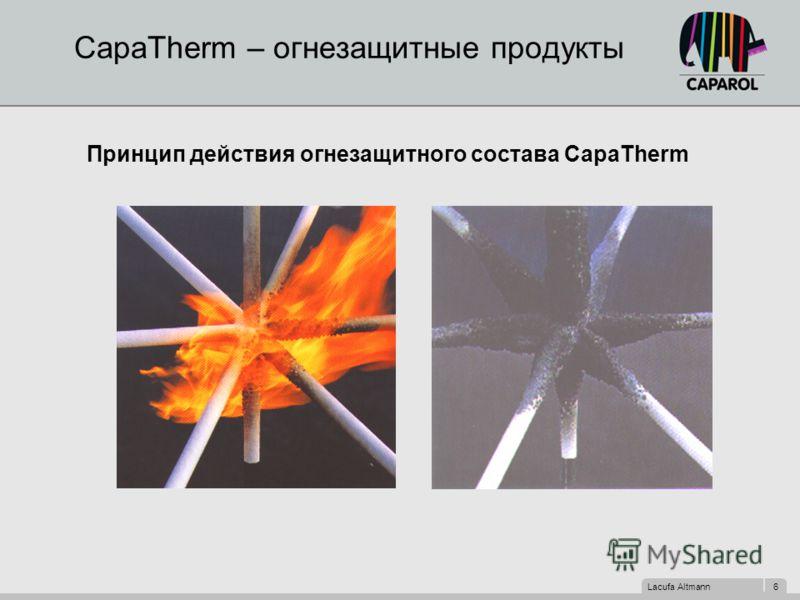 Lacufa Altmann 6 CapaTherm – огнезащитные продукты Принцип действия огнезащитного состава CapaTherm