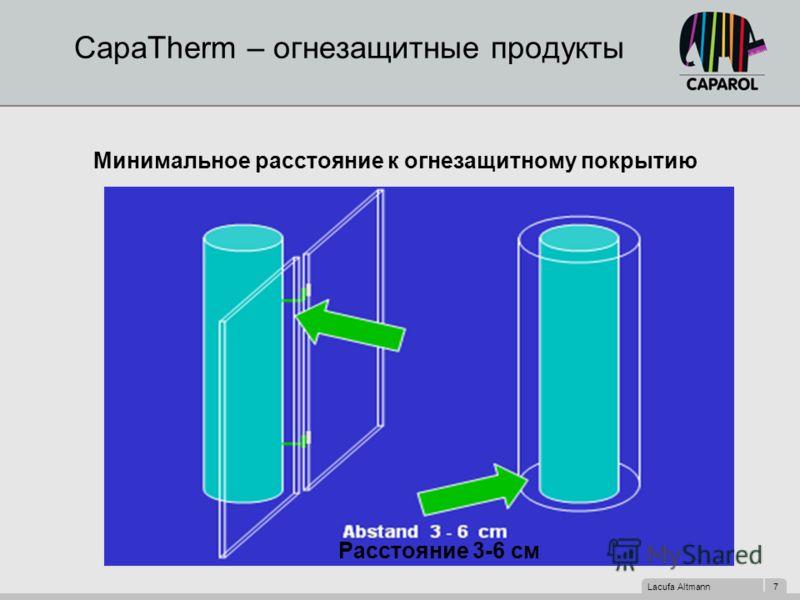 Lacufa Altmann 7 CapaTherm – огнезащитные продукты Минимальное расстояние к огнезащитному покрытию Расстояние 3-6 см