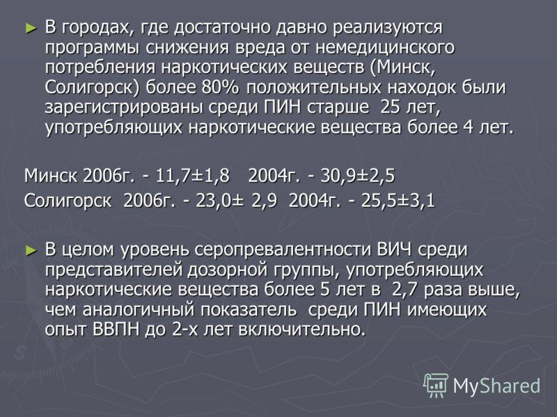 В городах, где достаточно давно реализуются программы снижения вреда от немедицинского потребления наркотических веществ (Минск, Солигорск) более 80% положительных находок были зарегистрированы среди ПИН старше 25 лет, употребляющих наркотические вещ